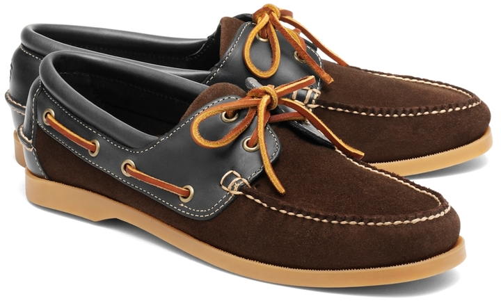 dee6ba1e2d ... Dark Brown Suede Boat Shoes Brooks Brothers Suede And Leather Boat Shoes  ...