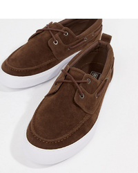 ASOS DESIGN Wide Fit Boat Shoes In Brown Faux Suede