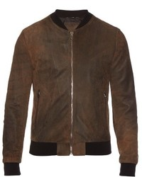 Dark Brown Suede Bomber Jacket