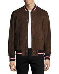 Moncler Suede Bomber Jacket Brown