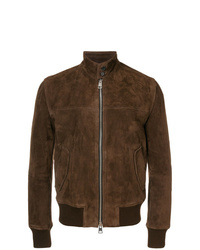 AMI Alexandre Mattiussi Suede Zipped Jacket Harrington Collar