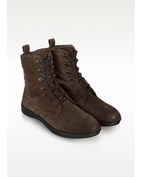 Moreschi Dark Brown Suede Lace Up Ankle Boot