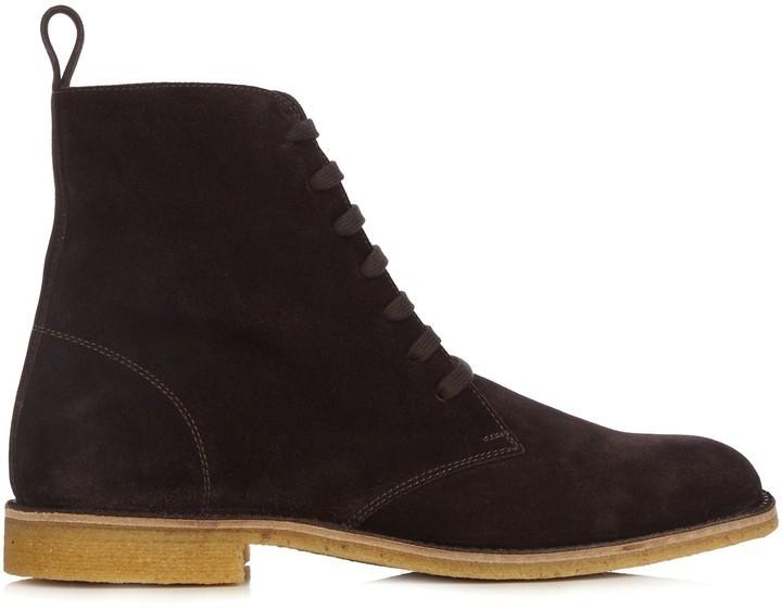 42612c41466f COM › Bottega Veneta › Dark Brown Suede Boots Bottega Veneta Lace Up Suede  Ankle Boots