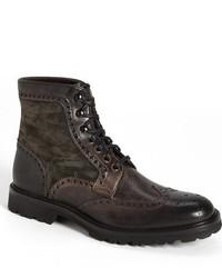 Dark Brown Suede Brogue Boots