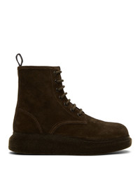 Alexander McQueen Brown Suede Hybrid Boots
