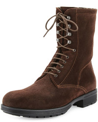 Aquatalia Hayden Suede Lace Up Ankle Boot Dark Brown