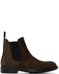 Officine Generale Brown Suede Chelsea Boots