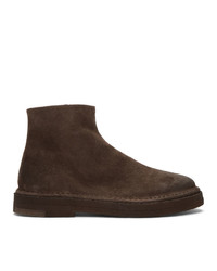 Marsèll Brown Suede Parapa Tronchetto Zip Boots