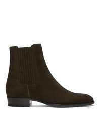 Saint Laurent Green Suede Wyatt Chelsea Boots