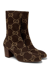 Gucci Leather Trimmed Logo Jacquard Boots