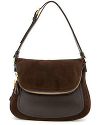 Dark Brown Suede Crossbody Bag