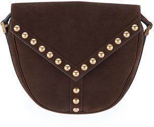 ... Saint Laurent Y Studs Suede Crossbody Bag Dark Brown ... e85c3a8560412