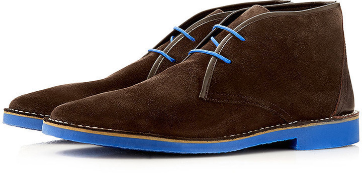 Topman Nevada Pop Brown Suede Desert Boots