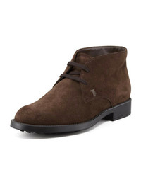Tod's Suede Lace Up Chukka Boot Brown