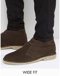 Asos Wide Fit Desert Boots In Brown Suede