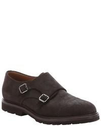 Brunello Cucinelli Dark Brown Suede Monk Strap Loafers