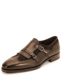 Marlin textured calfskin suede double monk with kiltie shoe brown medium 574094