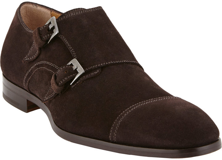 58dfe44c032a ... Brown Suede Double Monks Barneys New York Suede Cap Toe Double Monk  Shoes ...