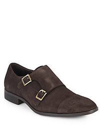 Saks Fifth Avenue Suede Monk Strap Loafers