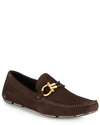 Dark Brown Suede Driving Shoes