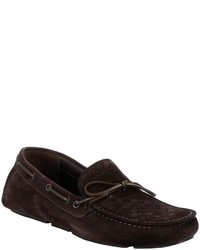 Bottega Veneta Coffee Intrecciato Suede Boat Stitched Slip On Driving Loafers