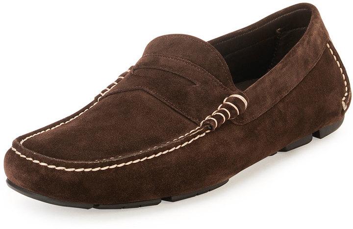 21c392841441e ... Shoes Salvatore Ferragamo Contrast Stitch Suede Penny Driver Chocolate  ...