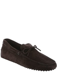 Tod's Dark Brown Suede Tie Detail Driving Loafers