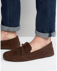 Asos Driving Shoes In Brown Faux Suede With Tie Front