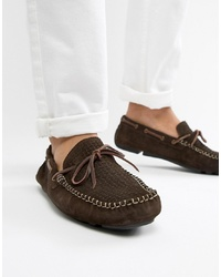 Dune Driving Shoes In Brown Suede