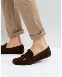 Asos Driving Shoes In Brown Suede With Charm