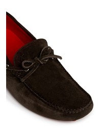 Canali Magnified Stitch Suede Loafers