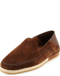 Ermenegildo Zegna Suede Espadrille Slip On Shoe Brown