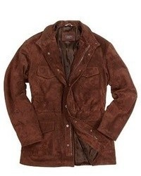 Forzieri Brown Four Pocket Italian Suede Leather Jacket