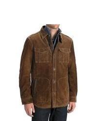 Worn Denim Worn Shirt Jacket Suede Dark Brown