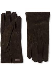 Prada Cashmere Lined Textured Suede Gloves
