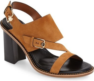 7cfe8dc2143 ... Dark Brown Suede Heeled Sandals Tod s Stacked Heel Slingback Sandal ...