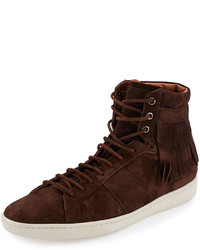 Dark Brown Suede High Top Sneakers