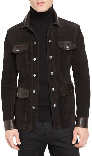 4edd1ea1147 ... Tom Ford Suede Leather 4 Pocket Shirt Jacket Brown ...