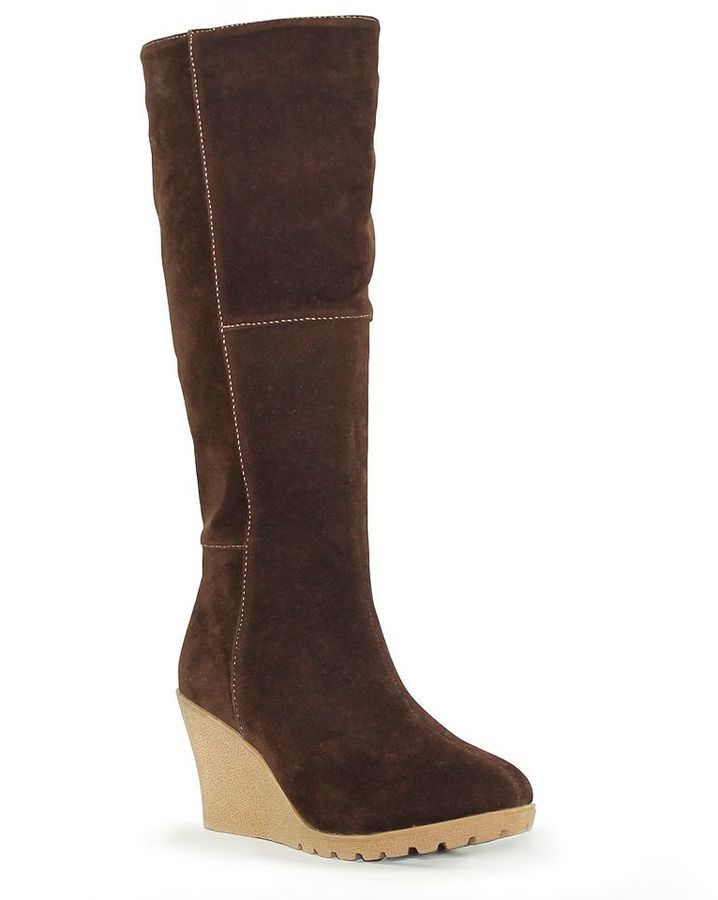 on feet images of Clearance sale cheap for sale $89, Oliver Miller Thompson Patchwork Knee High Wedge Boots