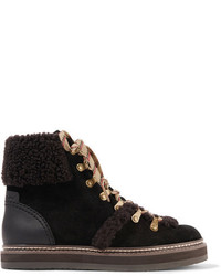 Dark Brown Suede Lace-up Flat Boots