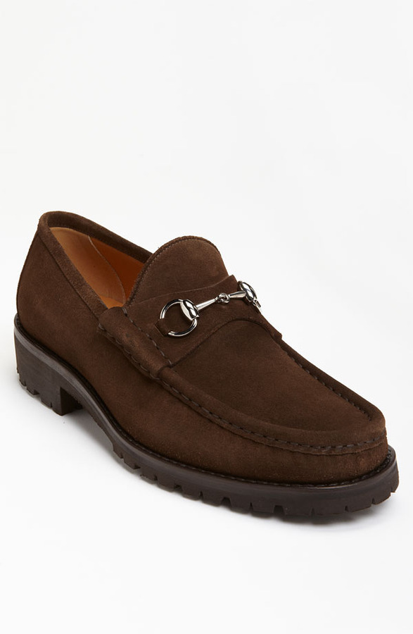 ff0b5a45097 ... Brown Suede Loafers Gucci Classic Lug Sole Moccasin ...