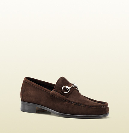 350969ddf62 ... Brown Suede Loafers Gucci Horsebit Loafer In Suede ...