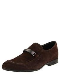Calvin Klein Shoes Loafers Adam F0976 Suede Dark Brown Medium