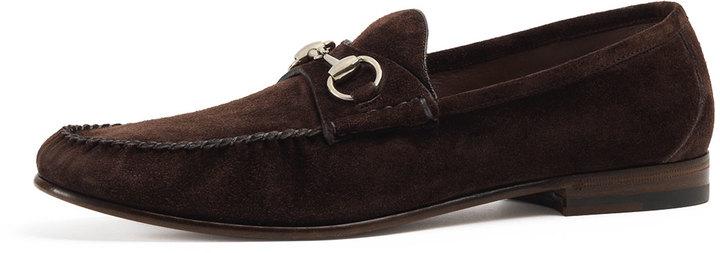 90949b39215 Gucci Unlined Suede Horsebit Loafer Dark Brown