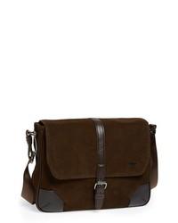 Dark Brown Suede Messenger Bag