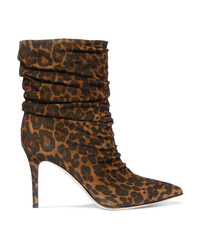 Gianvito Rossi Cecile 85 Leopard Print Suede Ankle Boots