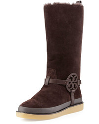 Tory Burch Dana Shearling Lined Suede Logo Tall Boot Coconut