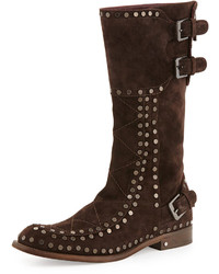 Gavroche suede mid calf boot dark brown medium 157952