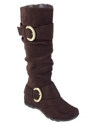 Journee Collection Slouch Buckle Knee High Microsuede Boots