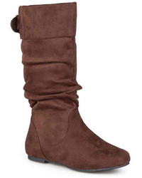 Journee Collection Shelley 8 Buckle Accented Mid Rise Wide Calf Slouch Boots